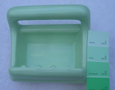 Vintage...NOS... Celery Green... Ceramic Soap Dish with Grab Bar by Mosaic Co.