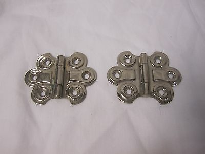 Set vintage nickel plated brass Deco Shabby Chic butterfly cabinet hinges