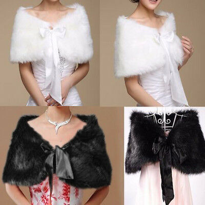 High-grade Elegant Faux Fur Bridal Long Shawl Stole Wrap Shrug Wedding Cocktail