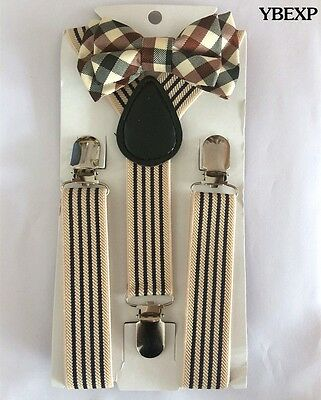 Elastic Tan Suspender and Tuxedo Bow Tie  Matching Sets for Boys  Kids