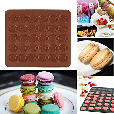 Silicone Macaron Muffin Pastry Cake Oven Baking Mould Sheet Mat DIY 30-Cavity