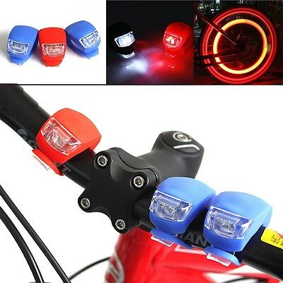 2X Silicone Bike Bicycle Cycling Head Front Rear Wheel LED Flash Light Lamp mO