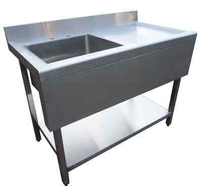 Commercial Catering Kitchen Stainless Steel Sink 1000mm with Valance Single Bowl