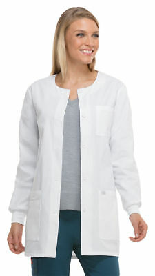 """Dickies Women's 32"""" Jewel Neck Button Front Closure Long Sleeve Lab Coat. 84403"""