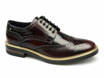 0c4cffcffc317 Base London WOBURN Homme Cuir Brogue Chaussures Haute Brillance Oxblood  Rouge