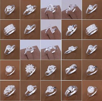 925 Sterling Silver Filled Crystal Zircon Ring Women Fashion Jewelry Size 7 8