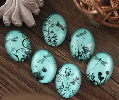 6x Glass Dragonfly Aqua Blue Base Cameo Cabochon 18x25mm