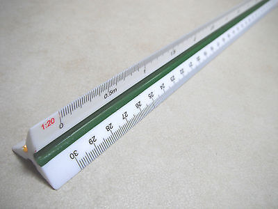 TRIANGLE SCALE RULER ENGINEERS Draughtsmen  1:100 1:200 1:250 1:300 1:400 1:500
