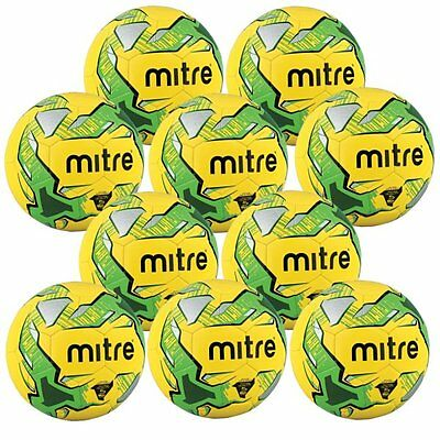 10 x MITRE IMPEL TRAINING FOOTBALLS - YELLOW/GREEN - BALL SIZES 3, 4 & 5