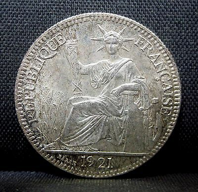 1921 French Indo-China ✪ Choice Uncirculated ✪ Silver Unc Ms Km-16 ◢Trusted◣