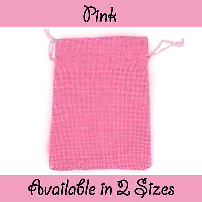 Pink Jute Burlap Hessian Gift Pouches Wedding Favour Bags Pouch In 2 Sizes