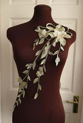 Fabulous long guipure lace embroidered applique, gold beige and black 1 piece