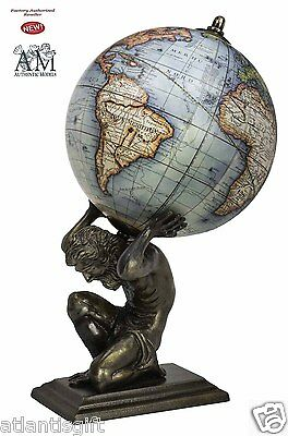 Antiqued Vaugondy World Globe on Bronze Atlas Statue by Authentic Models