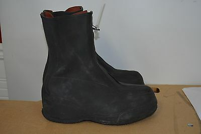 Used Military Surplus Wet Weather Black Rubber Overshoes/ Boots Size 8