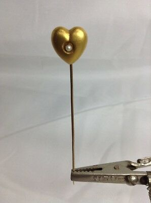 Vintage 14K Heart With Pearl Stick Pin (J164)