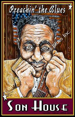 "Poster of Son House ""Preachin' The Blues"" by Cadillac Johnson"
