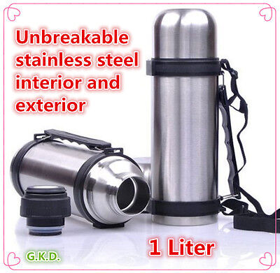 Vacuum Stainless Steel Insulated Coffee Soup Bottle Thermos With Handles 1 Liter