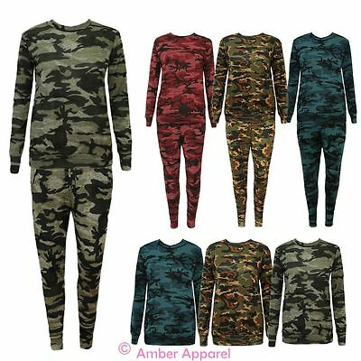 New Ladies Army Camouflage Print Tracksuit Womens Lounge wear Set Pants Joggers