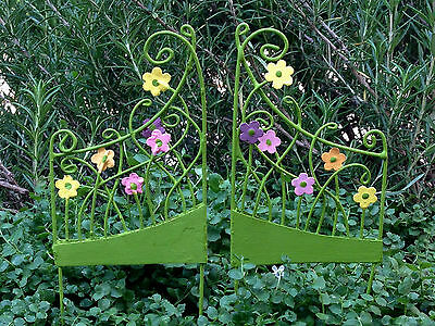 Miniature FAIRY GARDEN Accessories ~ Pair of Mini Flower Gate Pick Gates ~ NEW
