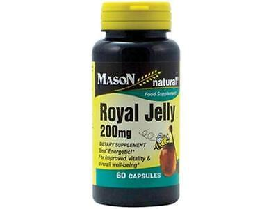 60 Capsules Royal Jelly 200 mg  Anti Aging Energy Herb FDA Approved & Made USA