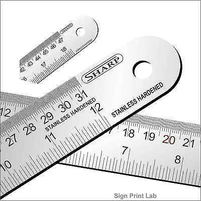 "2 x Hardened Stainless Steel Ruler 6 "" 12""  With Engraved Conversion Table"