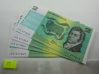 $2 JOHNSTON FRASER crisp paper notes. 2 x 2 pairs - from bank pack a/unc - unc