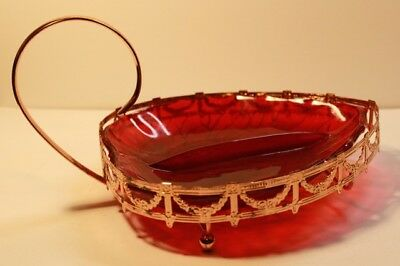 Vintage Large Rose Gilt Copper & Ruby Glass Strawberry Snack Candy Dish