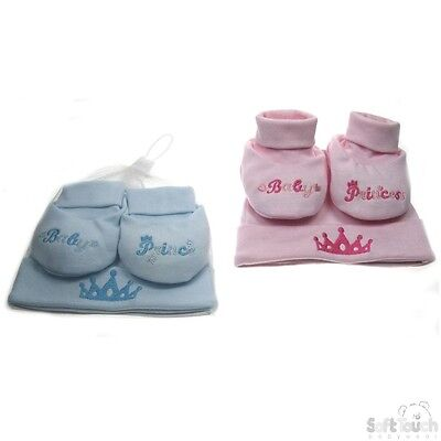 Baby Cotton Hat & Bootee Set Pink Princess & Blue Prince Designs Newborn