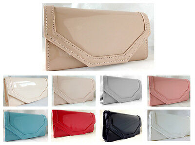 New Beige Nude Grey Red Flesh White Faux Patent Leather Evening Day Clutch Bag