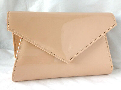 New Nude Beige Faux Patent Leather Evening Day Clutch Bag Wedding Prom Party