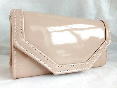 New Beige Nude Faux Patent Leather Evening Day Clutch Bag Wedding Prom Party