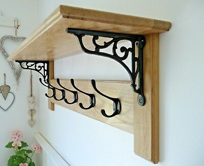Vintage Style Oak Coat Rack with Shelf – Contemporary Modern Victorian Black