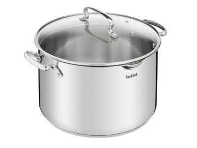 Tefal Duetto 10,1L 28Cm Stockpot With Glass Lid Pot Stainless Steel Cookware New