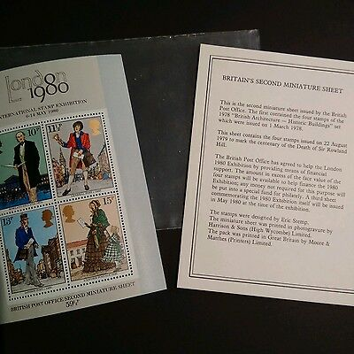 BRITISH POST OFFICE  2nd MINIATURE SHEET - ISSUED March 1st 1978 ROWLAND HILL