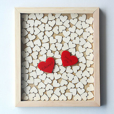 Personalized  Name & Date Wooden Drop Top Box Wedding Guest Book Frame120 Hearts