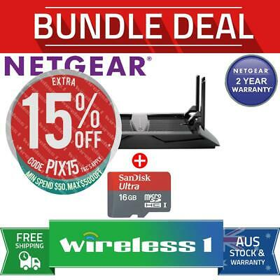 NETGEAR R8000 AC3200 Nighthawk X6 Tri-Band WiFi Router + SANDISK 16GB