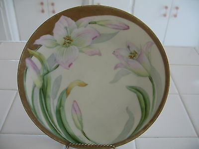Beautiful Vintage Bavaria Hand Painted HP Plate With Pink Lilies And Gold Signed