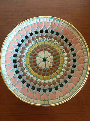 Vintage Retro Mosaic Plate Pastels Gold 50's 60's Mid Century Kitsch Rockabilly