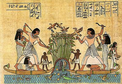 POSTCARD ANCIENT EGYPT Painting hieroglyph hunting fishing papyrus large format
