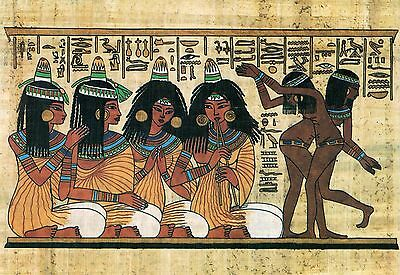 POSTCARD ANCIENT EGYPT Painting Music Dance Thebes hieroglyph papyrus large size