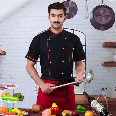 Men Chef Short Sleeve Coat Uniform Jacket Clothing Kitchen Restaurant
