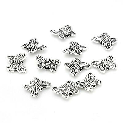 30pcs Tibetan Silver Butterfly Spacer Charm Beads 10mm ~~ BF