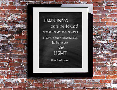 Harry Potter Dumbledore Quote Word Canvas Gift Print Chalkboard Happiness Light