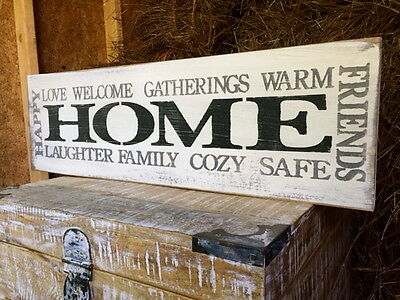 """Large Rustic Wood Sign - """"Home Happy Gatherings Welcome Friends Family. . ."""""""