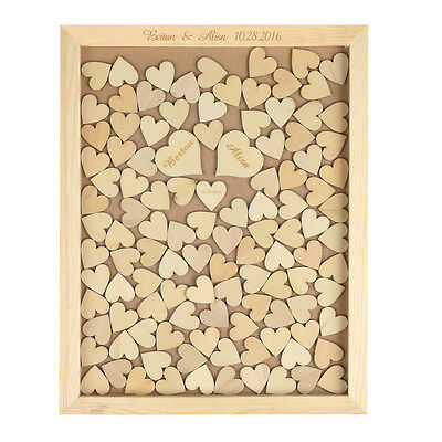 Personalized Engraved Wedding Drop Top Frame Guest Book 130PCS Wooden Heart Gift