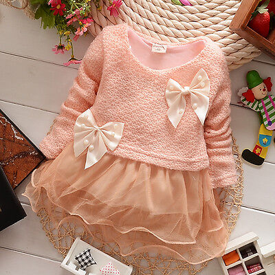2016 Baby Girls Dress Knit Sweater Tops Lace Bowknot Dresses Clothing 3-18Months