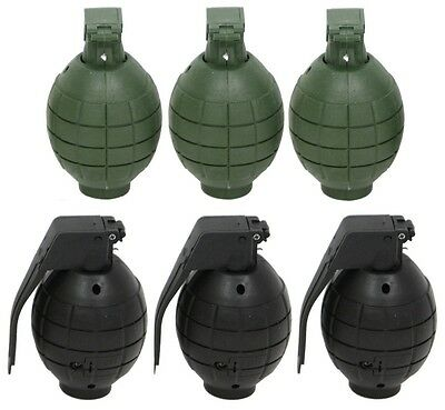 Kids Army Toy Hand Grenades - Set Of 3 Dummy Grenades with sound. Green or Black