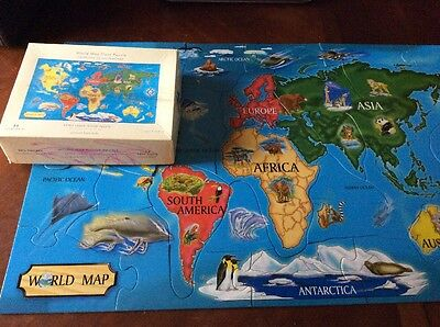 Pottery Barn Kids World Map Extra Large 2' x 3' Floor Puzzle The 7 Continents