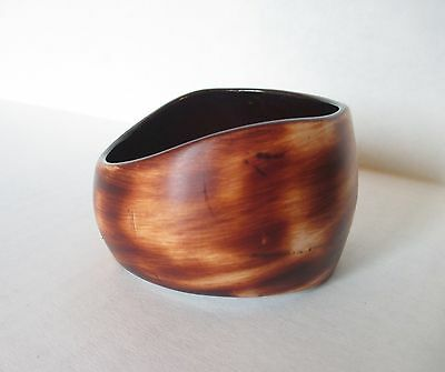 Large Brown Marbled Asymmetrical Bangle Bracelet Chunky Faux wood plastic