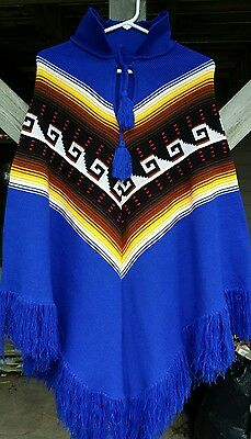 Native American Woven Medium Weight Poncho Southwest Weave Pattern Med Lg